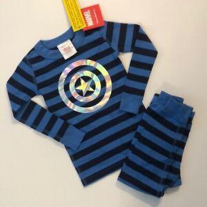 Hanna Andersson Marvel Captain American Long John Pajamas Boys Size 140 NEW!