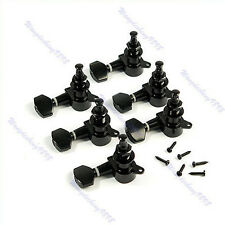 6R Inline Guitar String Tuning Machine Peg Keys Head Tunner Part Black