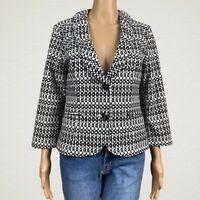 CAbi #298 Du Jour Printed Blazer Jacket Size 6 Black White Ruffled Collar Cotton