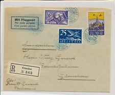 LM74325 Switzerland 1924 to Grenchen registered airmail cover used
