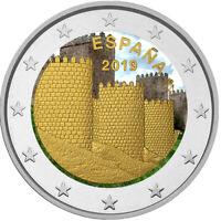 2 Euro Gedenkmünze Spanien 2019 coloriert / mit Farbe - Farbmünze Avila      2