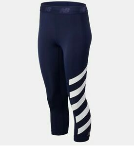 BNWT 2020 Navy White NEW BALANCE DRY ACCELERATE RUNNING LEGGINGS SIZE XS X small