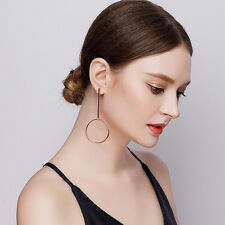 Women's Simple Circle Long Earrings Round Drop Dangle Ear Stud Jewelry