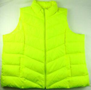 Land's End Women's 600 Fill Power HyperDry Down Puffer Vest 3XL XXXL Yellow