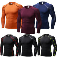 Mens Compression Shirt Running Gym Tops Dri fit Long Sleeve Base Layer Tight fit