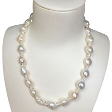 Fashion Huge 12-15mm Freshwater Baroque Natural White pearl necklace AAA+