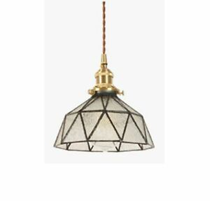 Vintage Pendant Lights Modern Clear Glass Stone Lampshade Adjustable Length New