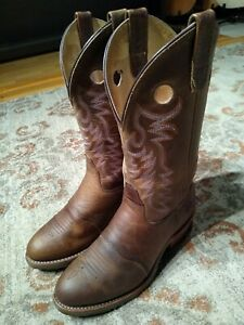 DOUBLE H GEL ICE BROWN LEATHER BUCKAROO COWGIRL WORK BOOTS #DH5159 WOMEN'S 9.5M