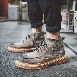Men's Autumn/Winter Outdoor Casual shoes Non-slip Leather Tooling Warm Boots