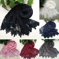 Head Wraps Headwear Tassel Plain Shawls Long Scarf Muslim Hijab Lace Headscarf