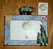 """Blue Sky Clayworks - Black Bear Tree Fish Picture Frame 2003 New 7 1/2"""" X 5 1/2"""