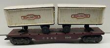 Marx O Gauge Train Flat Car #5545 With White Burlington Trailers
