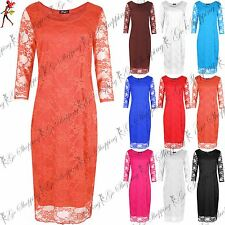 Ladies Bodycon Womens Midi Dress Fitted Knee Length Round Neck Celeb Outerwear