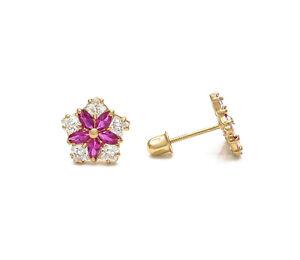 1CT Marquise Ruby Princess Created Diamond Earrings 14k Yellow Gold Screwback