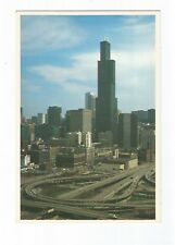 Postcard Freeway system and Sear's Tower Chicago Illinois UP   (A19)