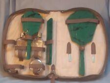 More details for green bakelite dressing table travel set vanity hand mirror comb brush 1930s