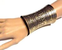 ORNATE BRASS CUFF wide metal gauntlet Ethnic bohemian gypsy boho bracelet 1Z