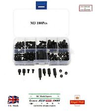 M3 180Pcs Nylon Noir Entretoises Vis Écrous Hex M-F STAND OFF Assorted Kit Box RC