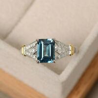 925 Silver Ring Emerald Cut Aquamarine Women Wedding Ring Jewelry Size 6-10
