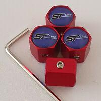 ST LINE Matte Red Locking Anti Theft Wheel Valve Dust caps all FOCUS FIESTA ST1