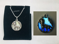 Howling WOLF Moon GLOW in the DARK Dreamcatcher Feather Charm Pendant Necklace