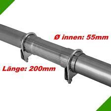 Ø 55x200mm Universal Reparaturrohr Rohr Abgasrohr mit Aufweitung Auspuff Schelle