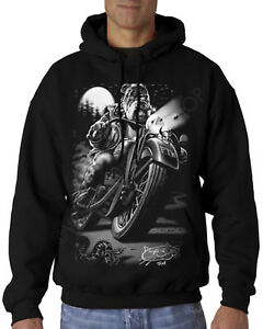 Velocitee Mens Hoodie Cats Suck Biker Chopper Bobber Motorcycle A10533