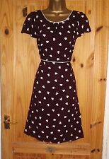 Wine cream polka dot hearts vintage repro WW2 40s 50s party tea dress size 14 16