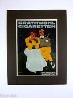 alter Reklame Druck Bild hinter Passepartout Grathwohl Zigaretten 50x40cm 227