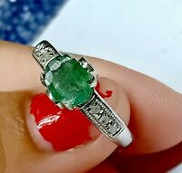 Natural Pave Diamond Emerald 925 Sterling Silver Ring Gemstone Jewelry Nice Ring