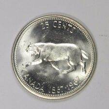 1867-1967 CANADA 25 CENTS SILVER QUARTER! FLASHY LUSTER! - CLASSIC! INV#413
