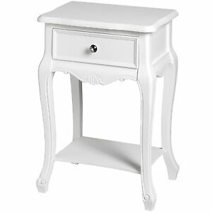 Antique Style White Wood Bedroom Living Room Hall Furniture Drawers Side Table