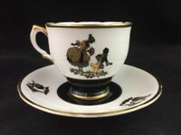 Salisbury Bone China England Black Gold Silhouette No. 3688 Footed Cup & Saucer