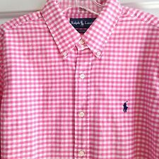 POLO RALPH LAUREN MEN'S L/S 100% COTTON PINK WHITE CHECK SHIRT BUTTON DOWN LARGE
