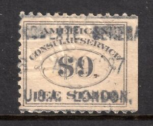 USA = FOREIGN SERVICE FEE STAMP - SCOTT #RK26 $9 GREY, Used. (a)