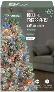 1000 LED Multi-Coloured Xmas Tree Lights with Timer, 30m, Clear Cable