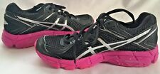 ASICS GT 1000 girls Youth Sz 2 black pink Sneakers Shoes Breast Cancer addition