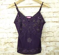 Kayting Purple Beaded Sheer Spaghetti Strap Tank Cami Sz XS Belly Dance Costume
