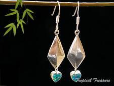 Synthetic Opal Hearts & 925 SOLID Silver Earrings    #48712