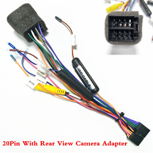For Android Stereo Player 20 PIN Wire Harness Connector Adapter Cable Camera In