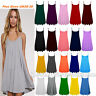 Womens New Sleeveless Cami Swing Dress Floaty Floared Strappy Skater Top UK 8-30