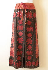 G158 Gothic Hippie Gypsy Bohemian Renaissance Heavily Embroidered Long Skirt - L
