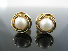 14K YG 7mm Pearl Stud Earrings Large Safety Backs Solid Gold Rope Knot 3.4g
