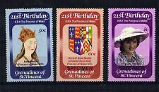 St VINCENT GRE 1982 PRINCESS DIANA 21st BIRTHDAY SET 3 OVERPRINTED SPECIMEN MNH
