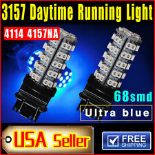 2 PCS 4114 4157NA Ultra Blue 3157 68-SMD Car DRL Daytime Running LED Bulb Lights