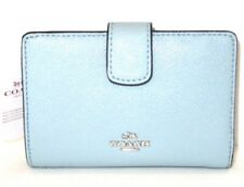 Coach Aqua Light Blue Cross Grain Leather Medium Corner Zip Wallet F54010  $165