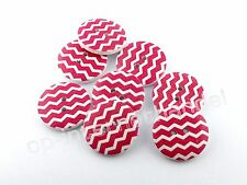 8 HOLZKNÖPFE - Kinderknöpfe - Weiße Wellen auf Rot - Ø 25mm - B-Ware