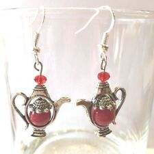 8MM RED JADE~ CRYSTAL ACCENT TEA POT EARRINGS WITH 925 STERLING SILVER EAR WIRES