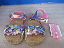 RISING STAR~Metallic PASTEL STRAPS TODDLER GIRLS SANDALS~Size 6~NWT