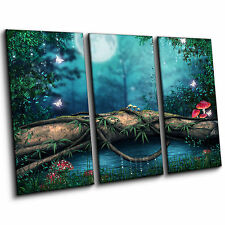 Enchanted Lake Woodland Night Scene Large Fantasy 3 Piece Canvas Print Wall Art